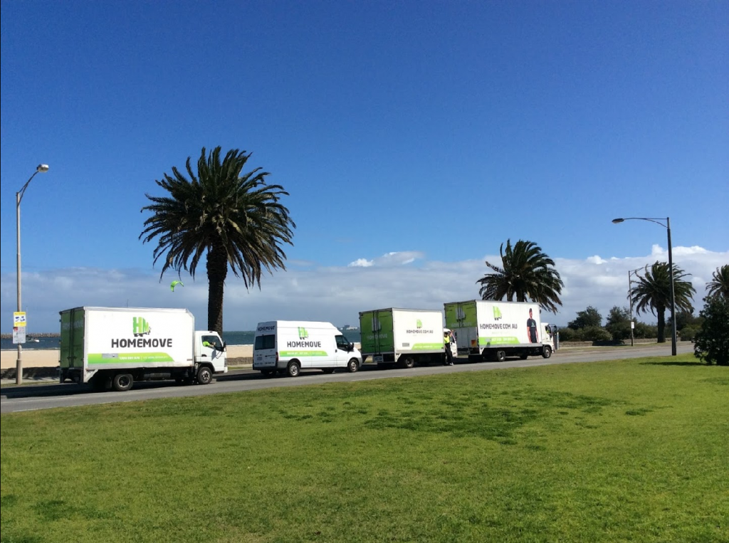 Melbourne Movers fleet by the beach.