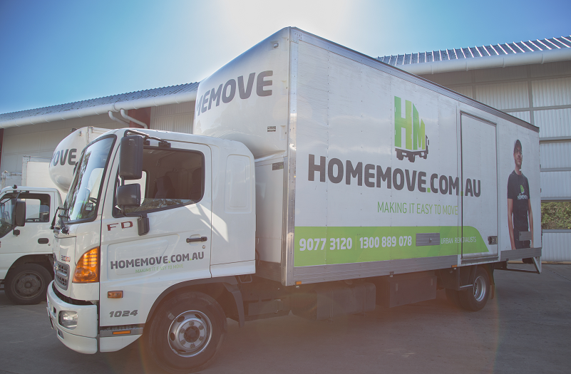Melbourne furniture removals truck outside Northcote storage warehouse